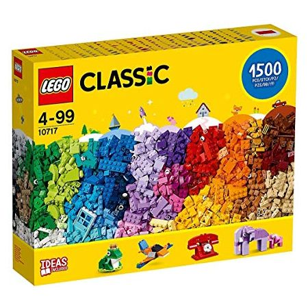 레고 Classic Bricks Set - 10717 1500 Pieces for Ages 4-99 Plastic 3 Levels of Building Complexi, One Color
