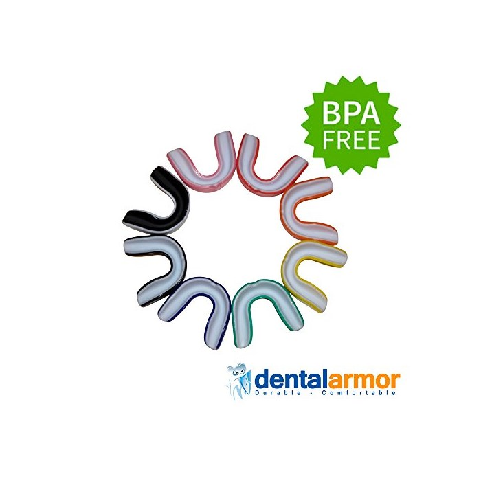 Sparkling White Smiles Dental Armor Sport 마우스가드 Athletic BPA Free Fit Any Size Mouth Carrying, Blue