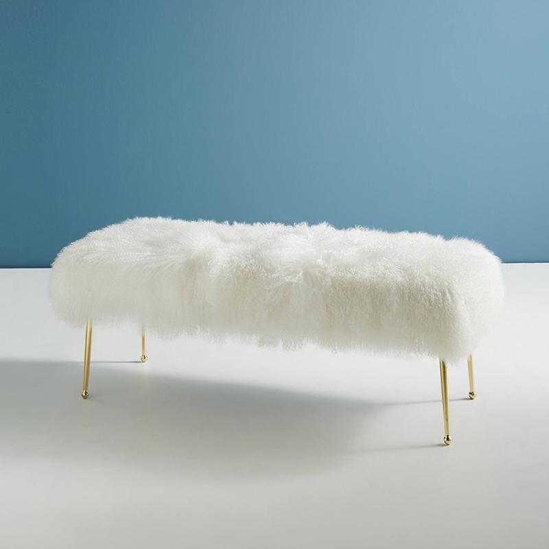 북유럽 양모 베드벤치 등받이없는의자 현관 거실 포인트의자, D.120*40*45(비치울)