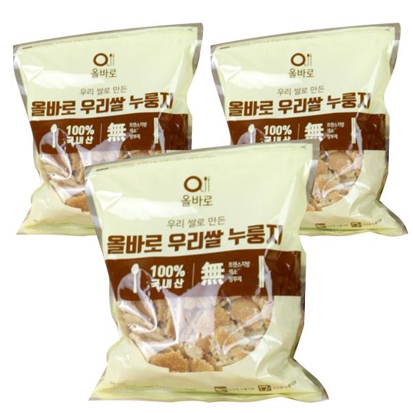바로푸드 올바로 우리쌀 누룽지, 1kg, 3개