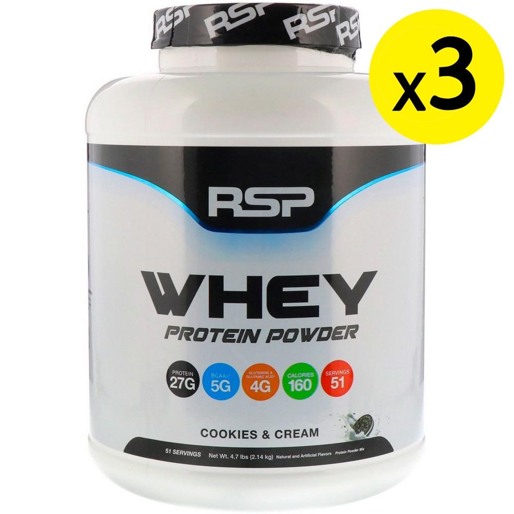 [미국직구]RSP Nutrition 유청 단백질 분말 쿠키 앤 크림 2.14kg(4.7lbs) 3개, 선택, 상세설명참조