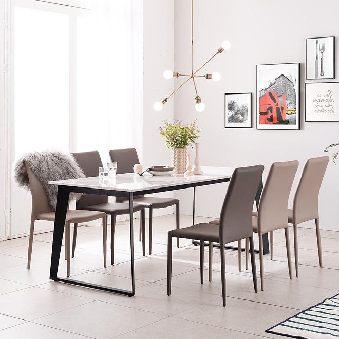 헤이미쉬홈 칸토 비앙코카라라 대리석 4인용 6인용 식탁 세트, 1800식탁+의자6개(색상 배송메세지 기재)