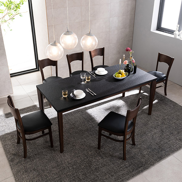 삼익가구 크로아 화산석 원목 6인용 식탁세트 화산석식탁, 의자 6EA
