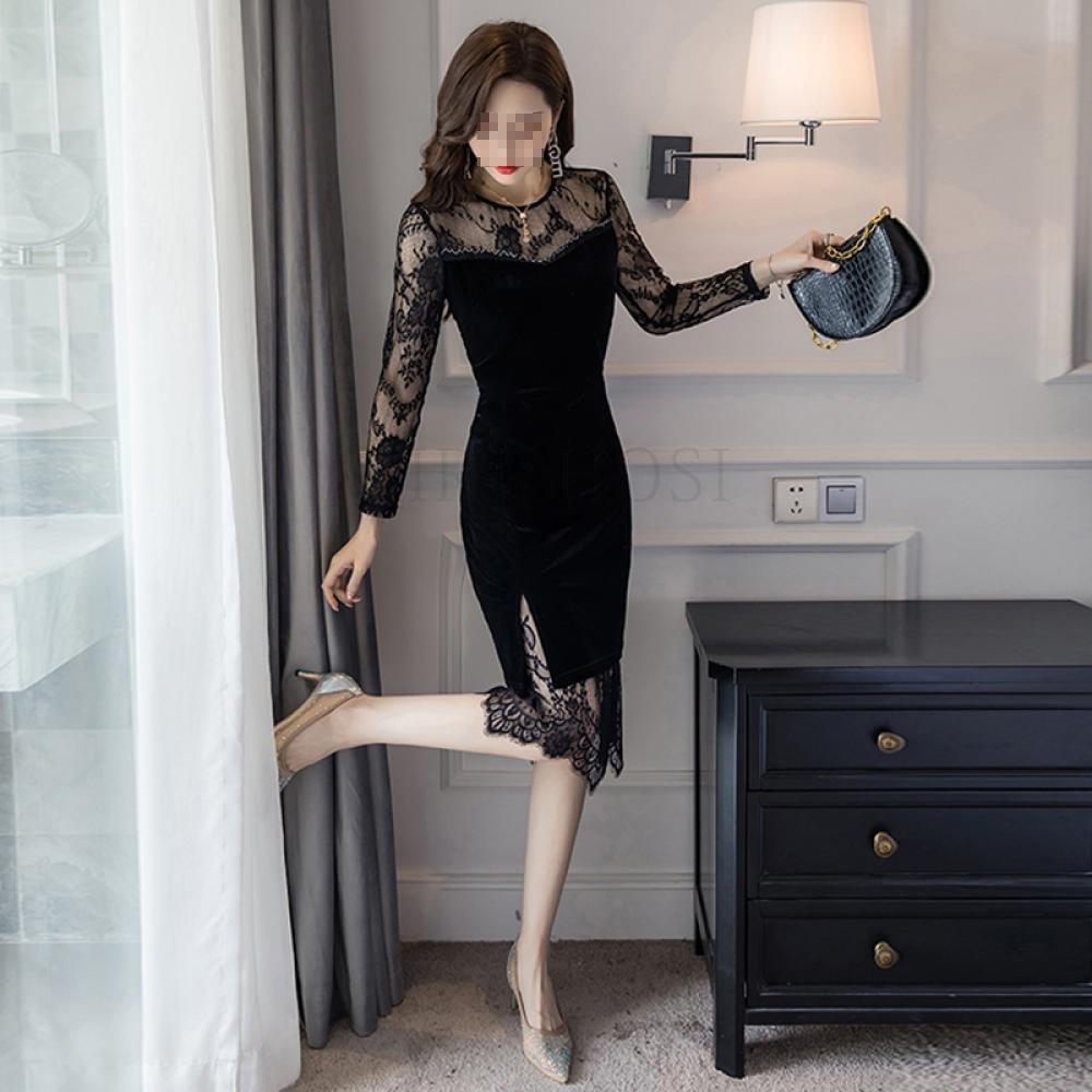 kirahosi 여성 롱원피스 복고풍 벨벳원피스 패션 200호+덧신증정 DEb6w8w8