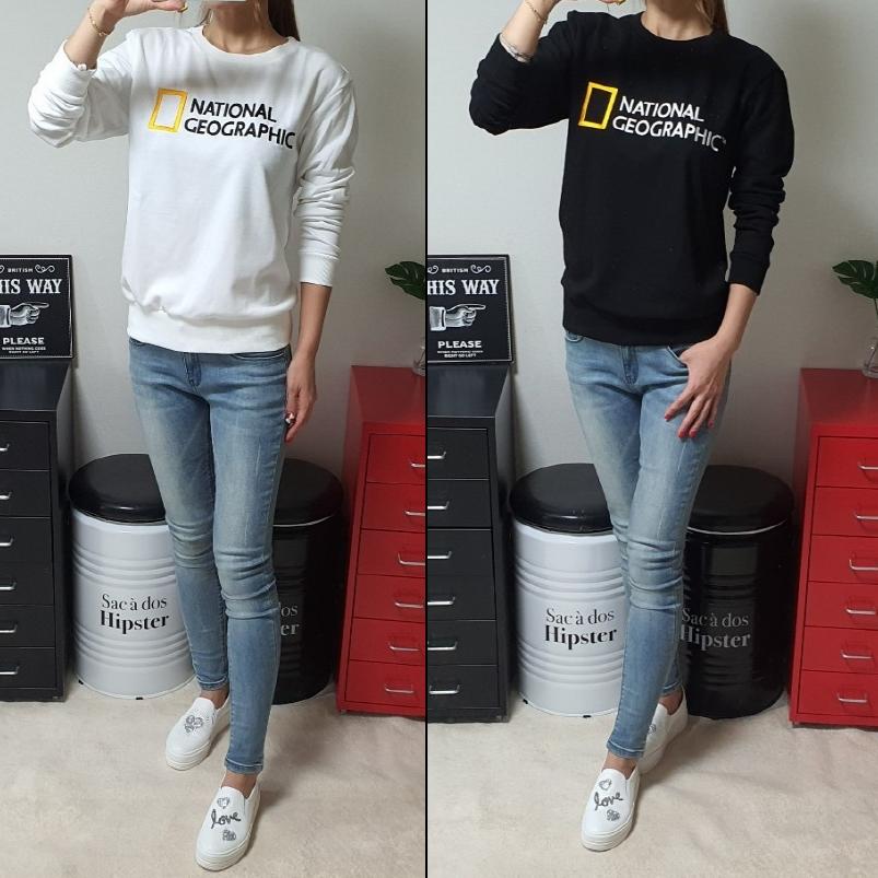 내셔널지오그래픽 맨투맨 고급 긴팔 티셔츠 ( 남녀공용)