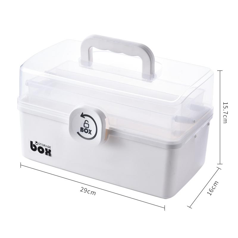 주식회사 어퍼스팟 정리함수납박스 치료하다 약상자 가정용 대용량 레이어드 간편 수납함 라지 번 토트 먼지 방지 구급 약품 홈, 중간사이즈 (화이트 ) (POP 5649999223)