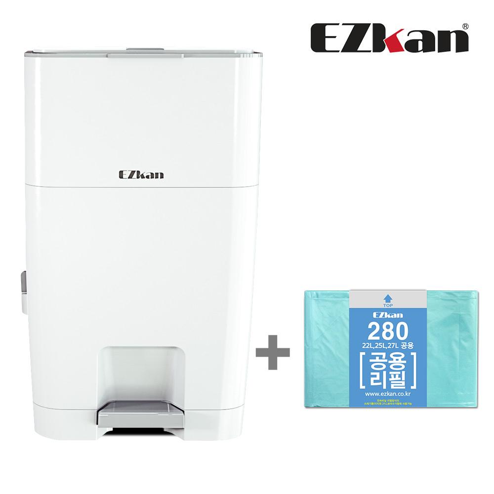 이지캔 기저귀 쓰레기통 EZ-270, 화이트, 27L