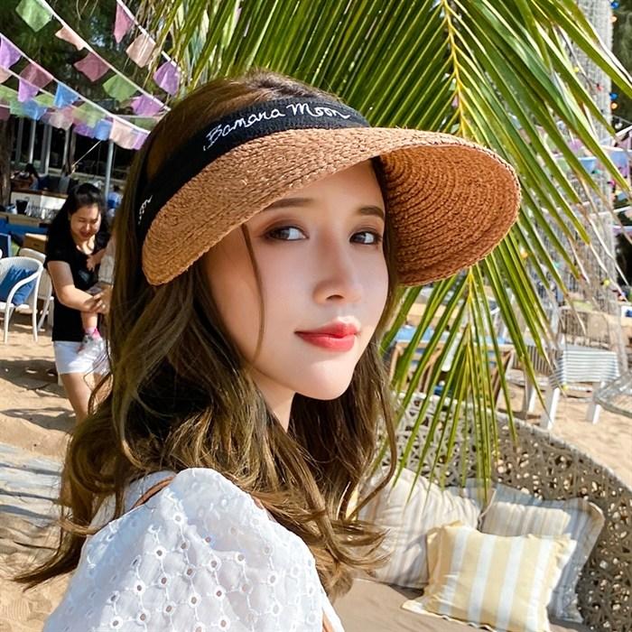 햇빛차단 모자 여성 여름 라피아 빈 한글 썬캡 토플리스 그물 빨간색 같은 스타일의 조수