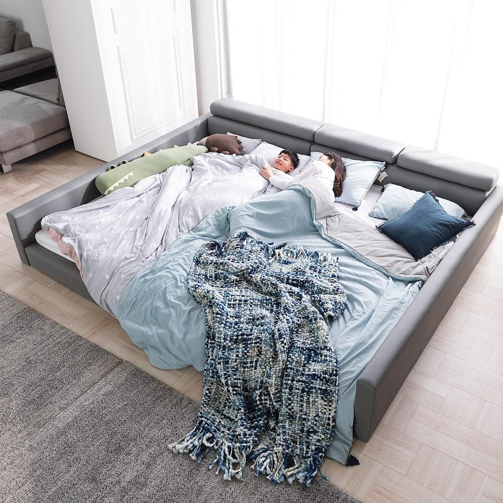 젠티스 스퀘어 시리즈 1+1 저상형 패밀리 침대프레임 세트 (매트선택), H. 스퀘어 헤드업 (그레이)