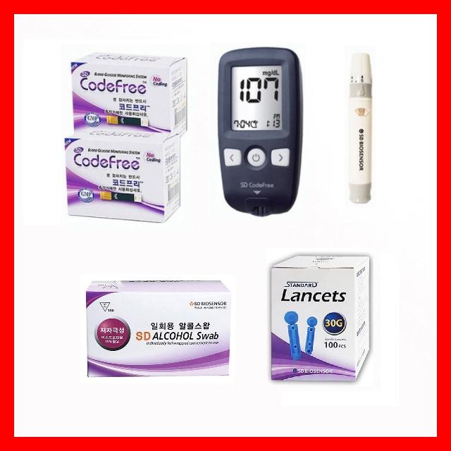 SD 코드프리 혈당측정기 풀세트 (기계+시험지100+채혈침110+알콜솜100+건전지+파우치+채혈기), 기계+시험지100+채혈침110+알콜솜100매입 풀세트