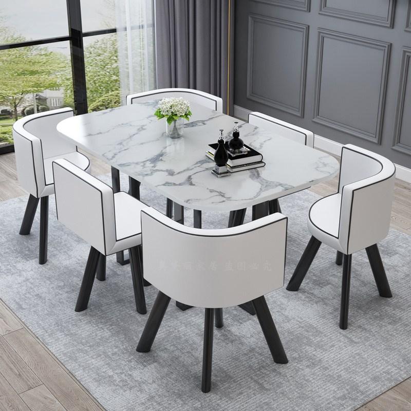 6인용 식탁 다이닝 티 테이블 카페 홈바 라운지 투톤 컬러 식탁 의자 세트, 화이트 화이트 가죽 모조 대리석 패턴 테이블