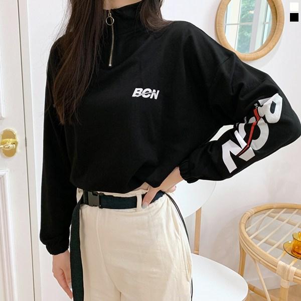 티데일리 본 크롭 반집업 맨투맨 여자 스트링 루즈핏 긴팔 티셔츠