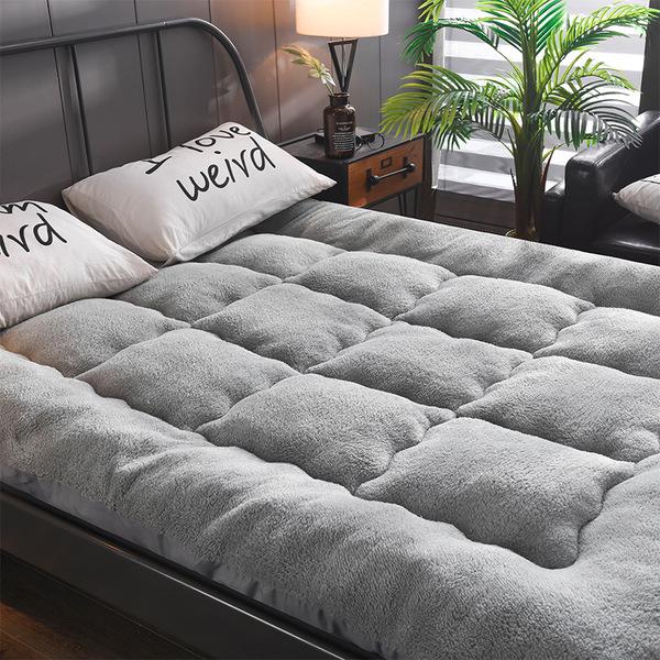 해외직구 두꺼운 양털 양모 침대 기절 싱글 퀸 자체 자가발열 토퍼 매트 양면 사계절 무중력 15 바닥 이불, 1.그레이