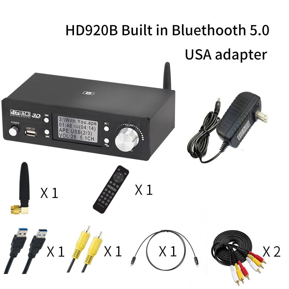 HD920 5.1CH 오디오 디코더 블루투스 5.0 수신기 DAC DTS AC3 Dolby Atmos 4K HDMI 호환 컨버터 SPDIF ARC PCUSB 사운드 카드, HD920B 미국