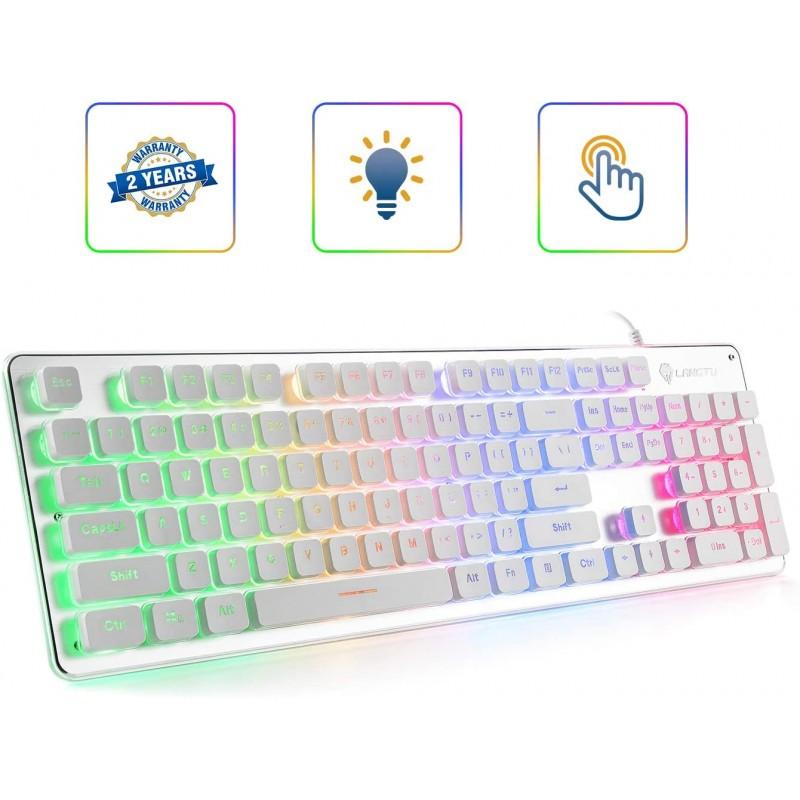 [갈축] LANGTU 멤브레인 게임용 키보드 사무실 용 레인보우 LED 백라이트 저소음 키보드 USB 유선 모든, 단일상품, 단일상품