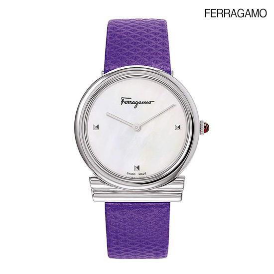 [최초가62만원]페라가모 간치니 클래식 바이올렛 가죽시계