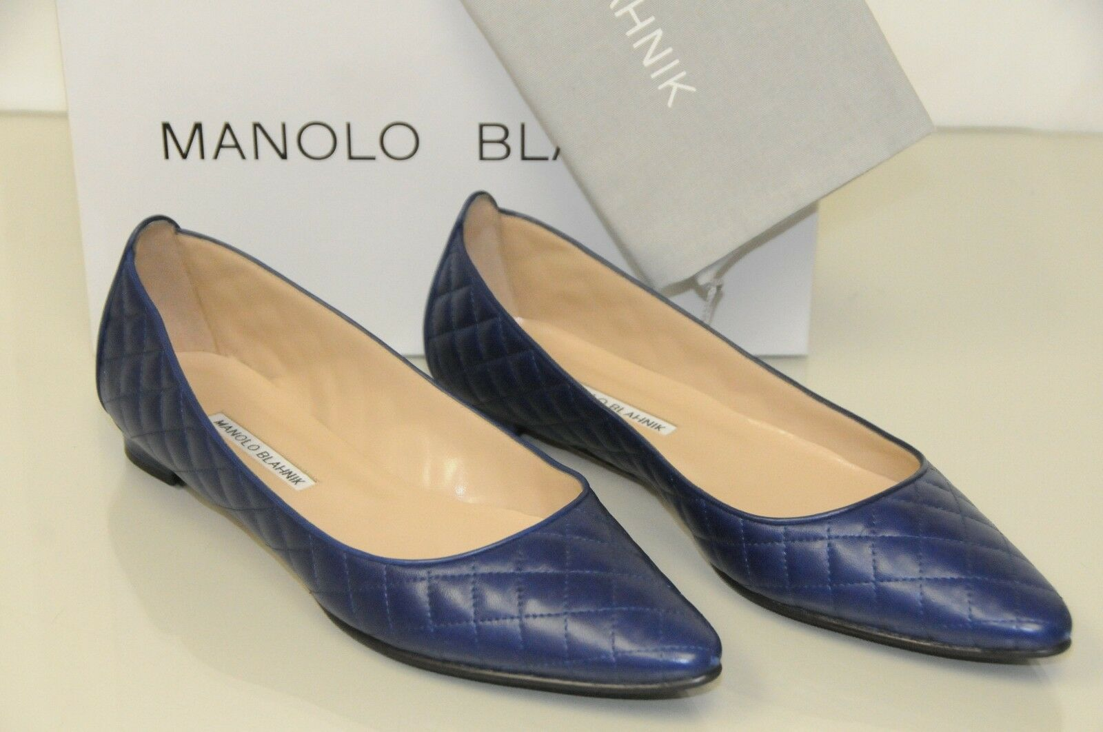 $735 NEW MANOLO BLAHNIK ABAT QUILTED FLATS LEATHER BLUE BALLERINA Fla SHOES 40.5