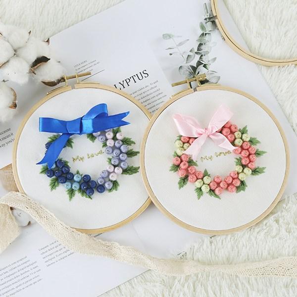 101도 프랑스자수패키지 DIY 꽃방울 리스 만들기 3color, 핑크 - 대나무자수틀 16cm