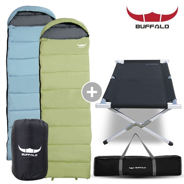 BUFFALO 캠프코트 + 포그니침낭 세트 캠핑용 야전 침대 침낭, 필수선택/캠프코트_블랙 포그니침낭_라임
