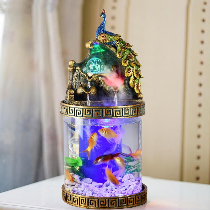 해파리키우기 샤오미어항 새로운 스타일의 거실 원통형 물이없는 생태 수조 크리 에이 티브, 공작 탁상 어항