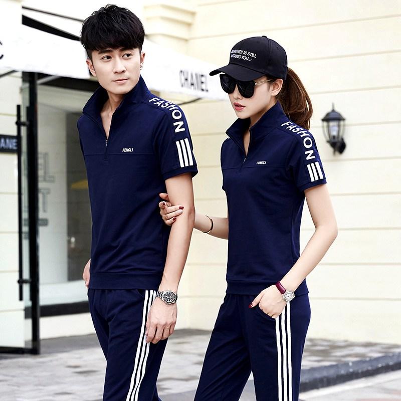 트레이닝복세트 단체구매 여름시즌 조단 순면 운동복세트 남녀 통용 짧은소매 긴바지 브랜드 실외 커플용품 캐쥬얼옷