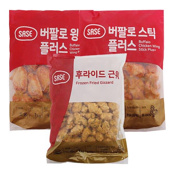 사세 버팔로스틱1kg+버팔로윙1kg+후라이드근위1kg, 3개, 1kg