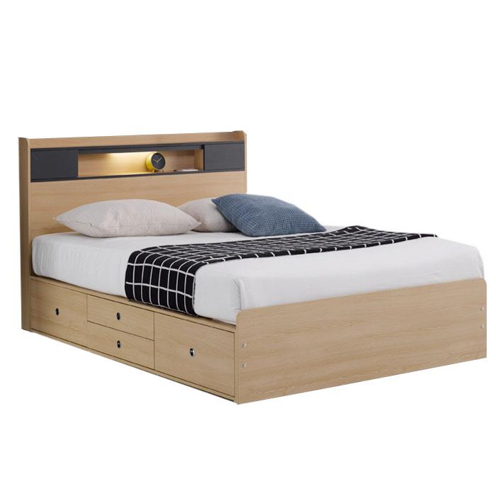 가이온 폴린트 LED 높은서랍 침대 Q 프레임, 메이플