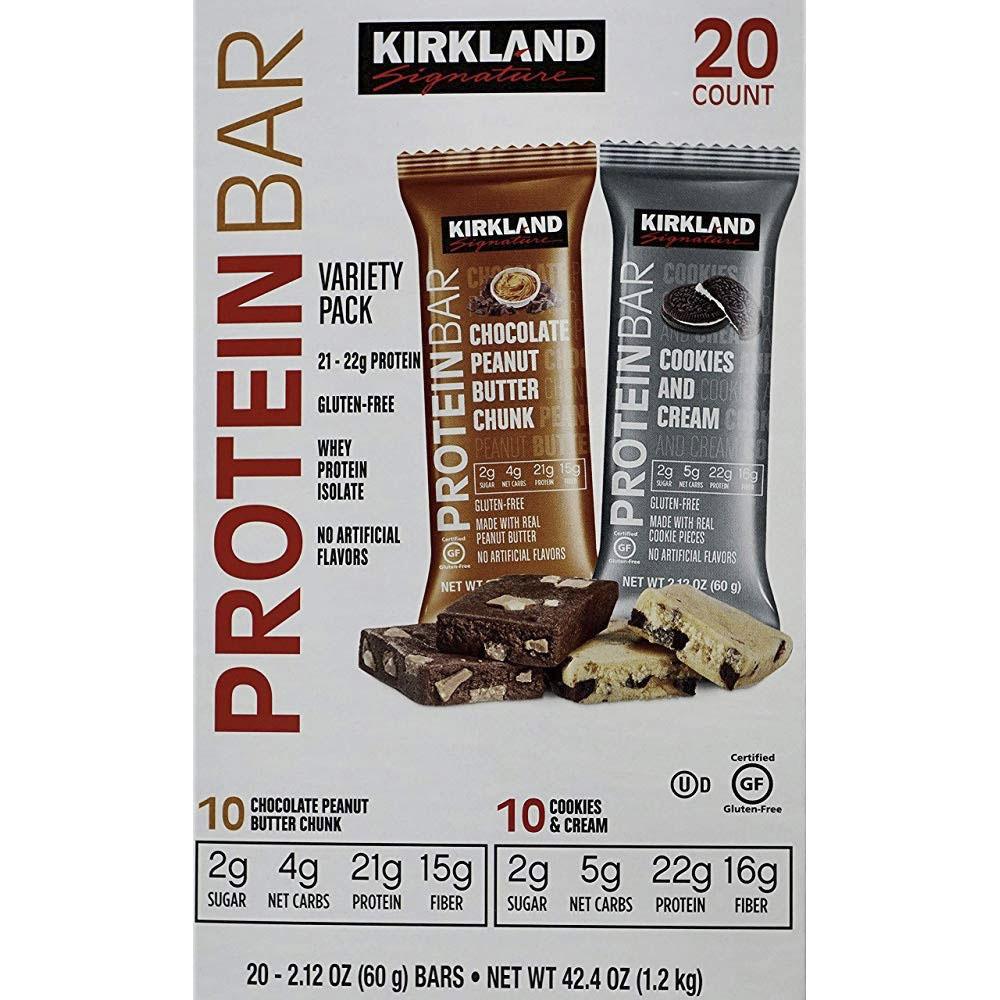 커클랜드시그니춰 프로틴 바 60g, 초콜릿 피넛 버터 청크 + 쿠키 & 크림, 20개입