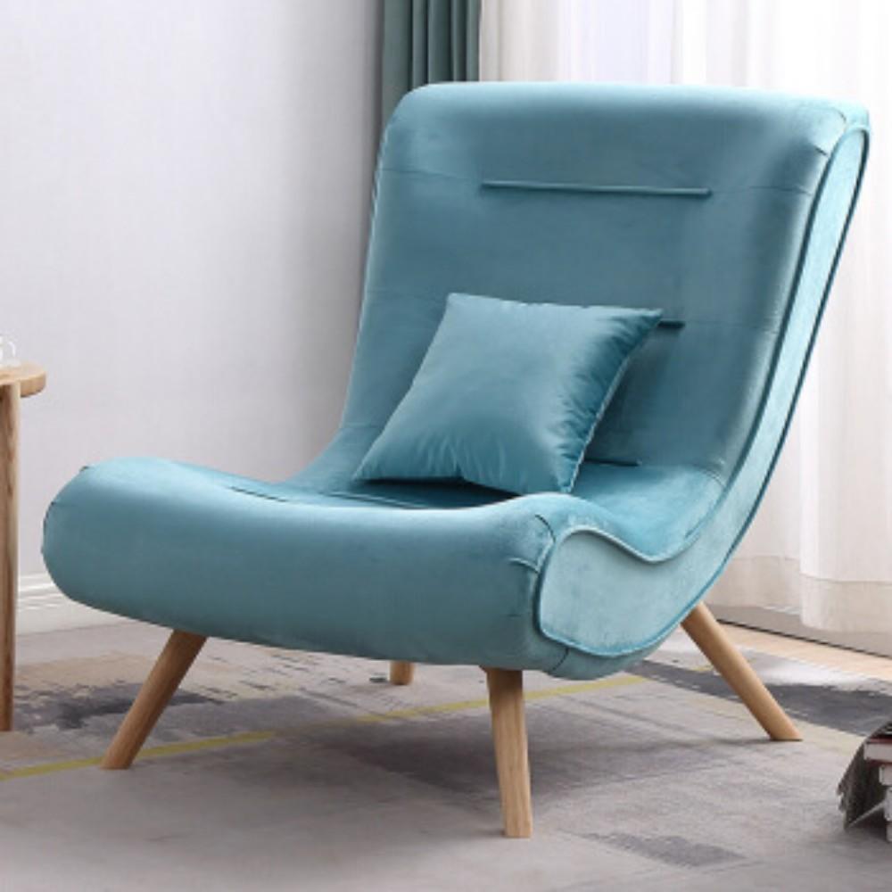 발받힘 디자이너 의자 북유럽 소파 1인용 달팽이 의자 침대 발코니 베란다 임스라운지체어 이몰라체어 이케아스트란드몬 로제까사안락의자 이케아펠로, 하늘색 홑의자