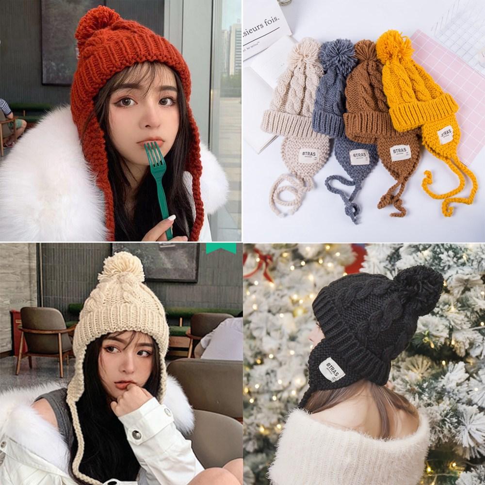 무드 여성 모자 여자 가을 겨울 귀달이 털 방울 패션 목도리 보온 비니 두건 방한
