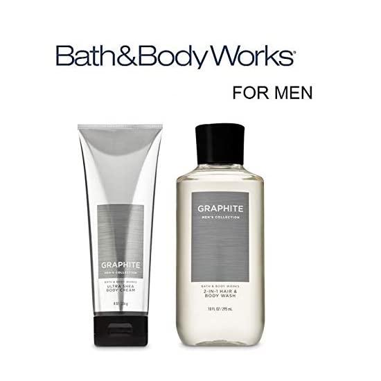 Bath & Body Works 배쓰앤바디웍스 저스트 포 그에게 기프트 세트 그래파이트 남성용 울트라 시어 바디 크림 및 2 in 1 헤어 + 워시 풀 사이즈, 1개