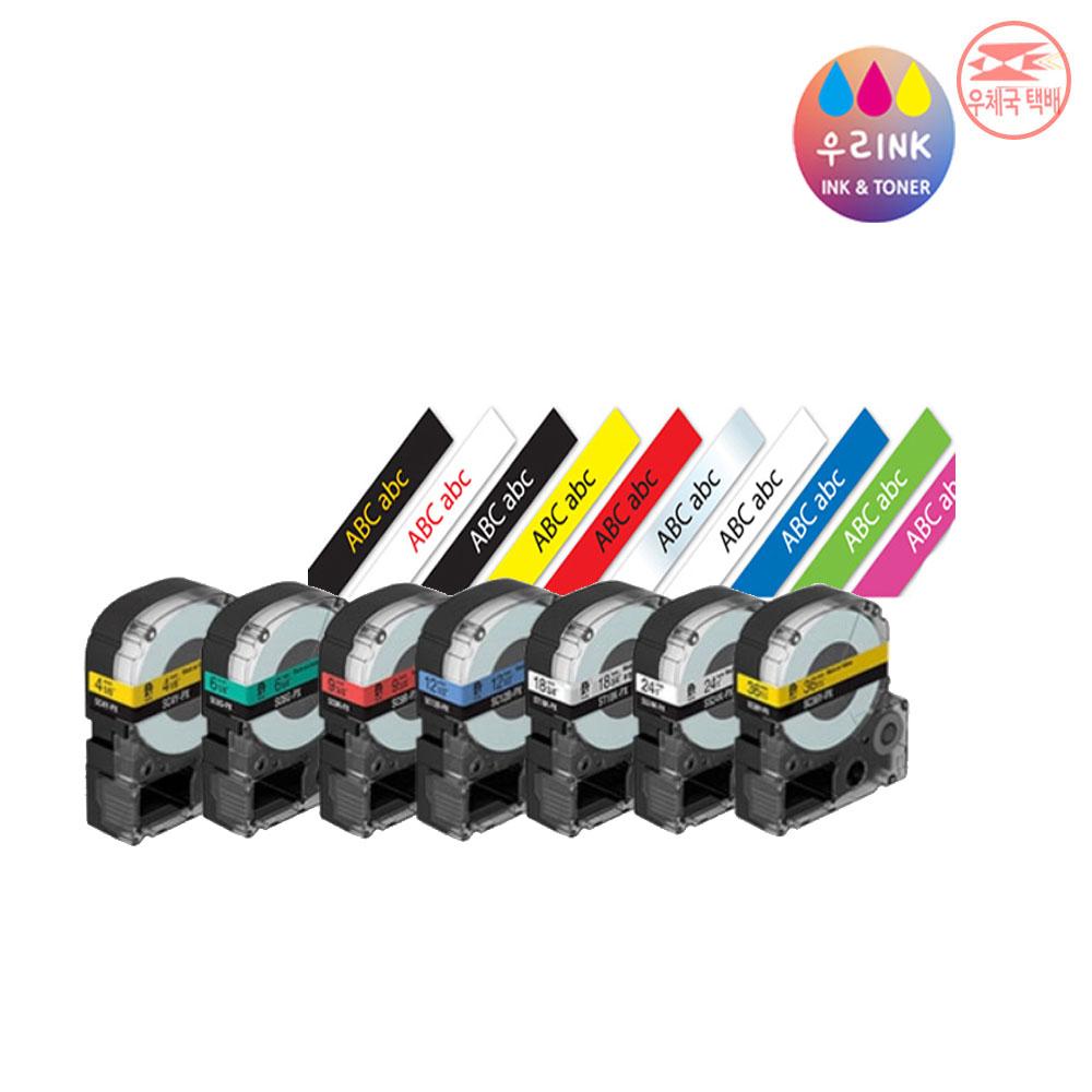 EPSON 엡손 호환 라벨테이프 6mm 9mm 12mm 18mm 24mm, 12mm 투명바탕/검정글씨-ST12KW
