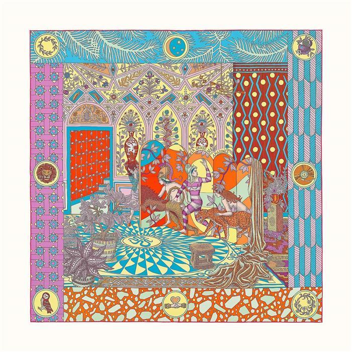 에르메스 까레 아마조네스 스카프 Vert Orange Multicolore