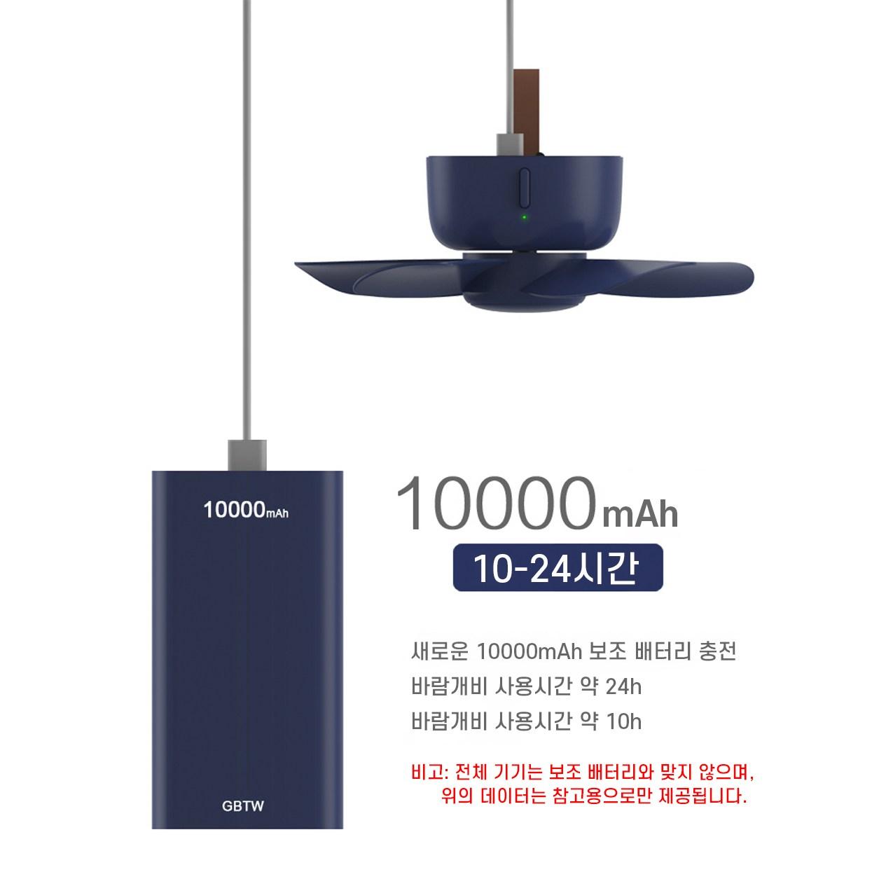 두리번 캠핑용 무선 USB 충전 타프팬 리모콘 선풍기 천장형, 블루컬러
