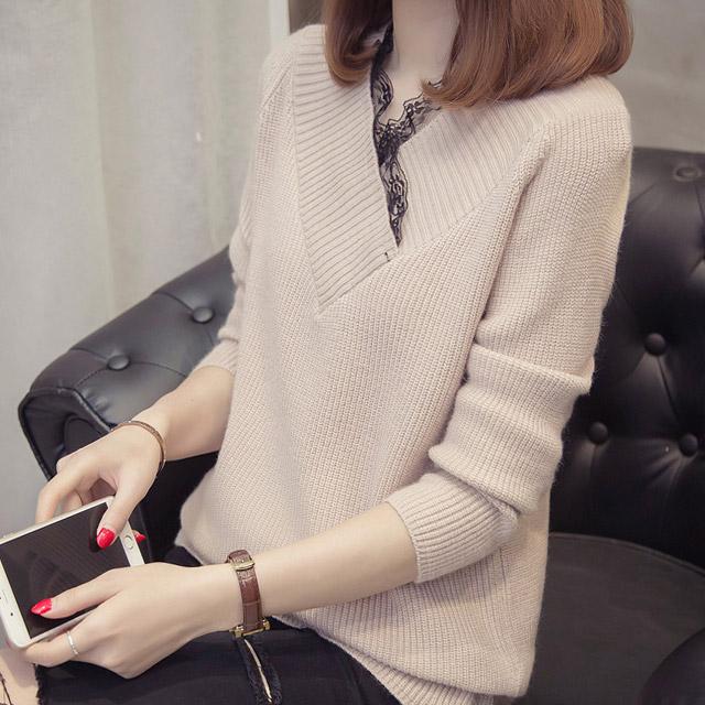 리더스타 여성용 브이넥 스웨터