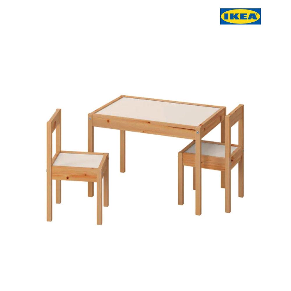 이케아 LATT 레트 어린이테이블+의자2 화이트/소나무