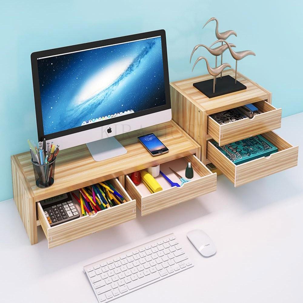 kirahosi 컴퓨터주변용품 모니터받침대 선반 책상정리 수납 68호+덧신증정 BMtj4mmf, 화이트 H2 이층