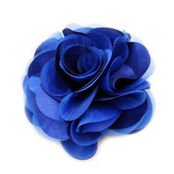 라라라 공단 장미 코사지, 파랑-12cm