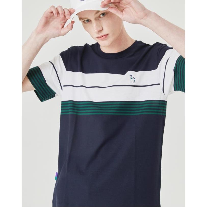 헤지스 남성용 윔블던 멀티 라인 라운드 티셔츠 HZTS0B052N2