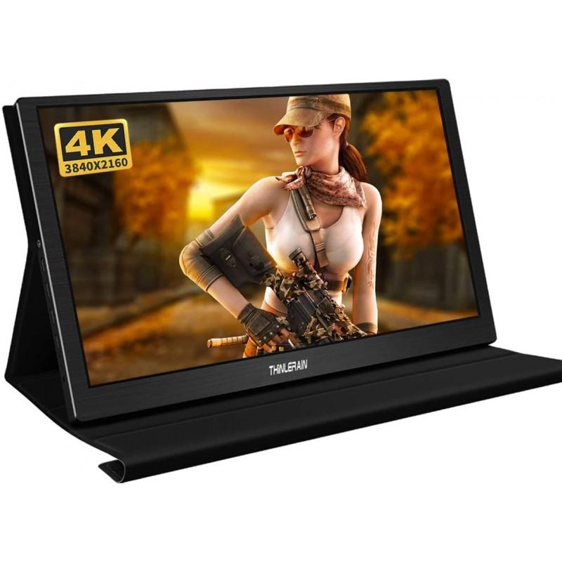 [해외 직배송] Thinlerain 휴대용 모니터 4K 15.6 인치 IPS LCD 3840 x 2160 FHD 디스플레이 USB 전원 HDMI 모니터 PS3/PS4, 단일옵션