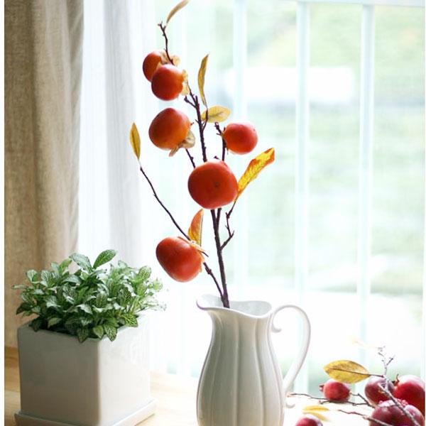 홍시나무가지/가을조화/가을매장소품/단풍나무가지/석류가지/감나무조화/밤송이