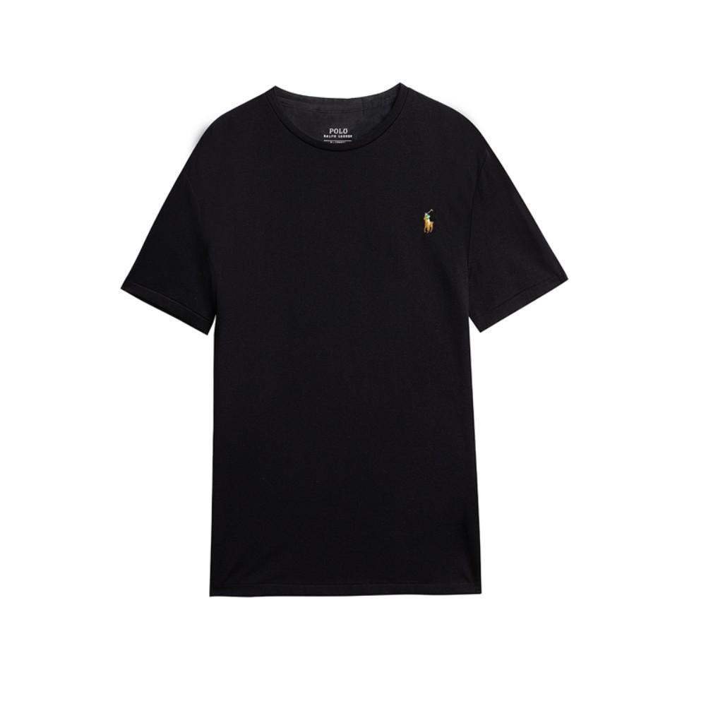 해외직구 클래식 핏 남성 폴로 라운드 넥 티셔츠 비즈니스 캐주얼 블랙 반팔티