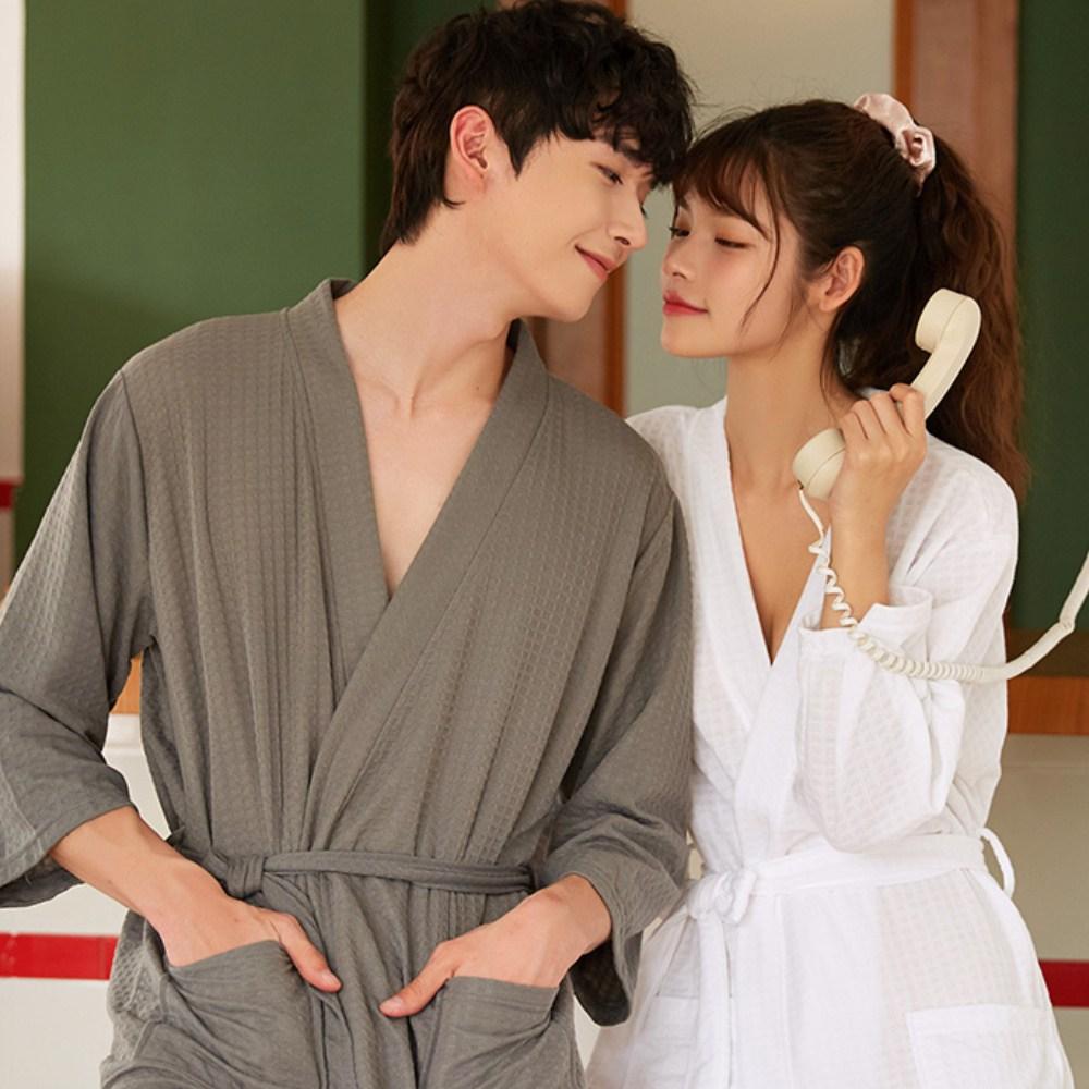 데코라멘 커플 와플면 목욕 샤워가운 남영공용 잠옷 유사실크 홈웨어