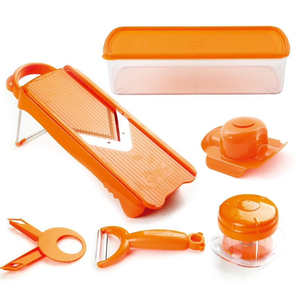 곰돌이 곰돌이안전통채칼세트(안전손잡이+안전통+보관용기+양배추칼+V날보호캡)