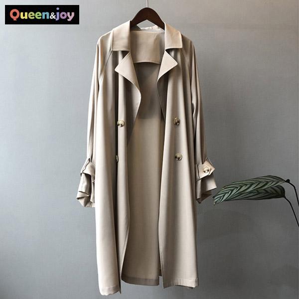 퀸앤조이 간절기 순수 얇은 트렌치 코트 트렌치코트
