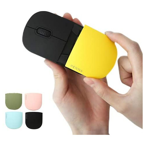 무선마우스 Elretron PENNA 2.4G Wireless Portable Mobile Mouse Retro Style Optical Mice with USB Receiver for Notebook PC Laptop Computer Mac - Olive G, 본문참고, Color = Mouse+Extra Cover 4P