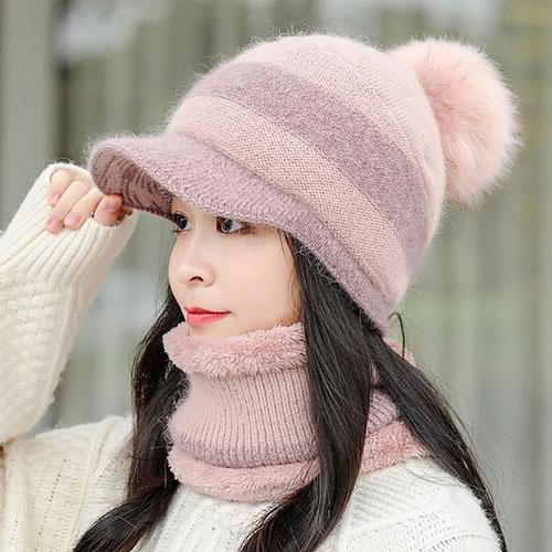 스피소 여성 토끼털 방울모자 넥워머 세트 니트모자 따뜻한 융모 모자 방한모