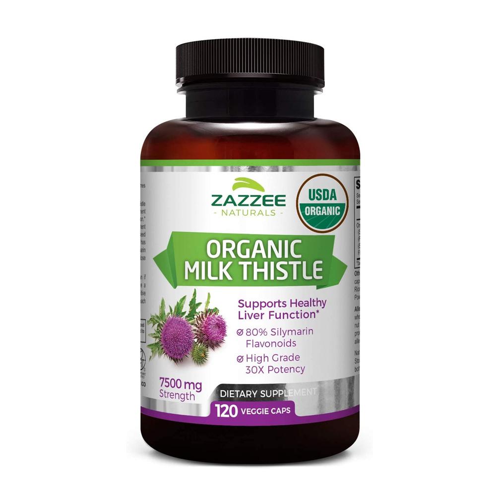 Zazzee 유기농 밀크씨슬 밀크시슬실마린 7500mg 120캡슐, 단품, 단품