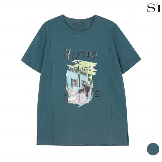 씨 라운드 절개 디테일 면 티셔츠 (SXIBD2825)_F6G3