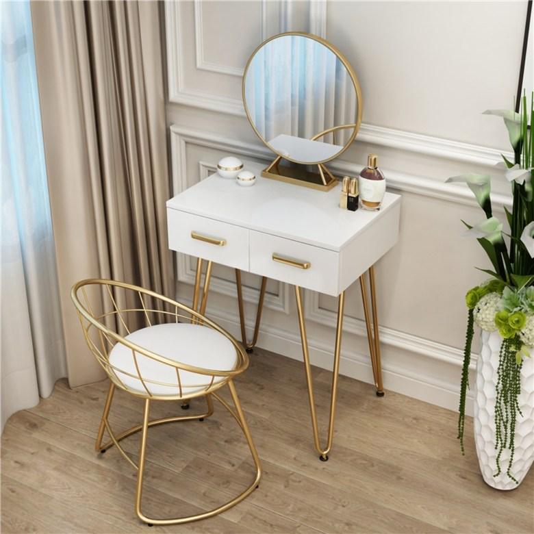 북유럽화장대 LED 이케아 입식미니 거울 연예인 학생 메이블 조명 공주 주니어 서랍 책상, 60cm 테이블 + 일반 철 거울 + 로리 의자